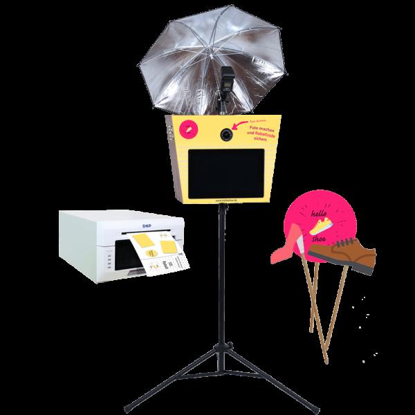 Individuell folierte Fotobox inkl. Drucker und individuellen Props und Accessoires